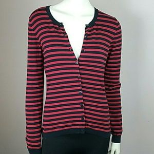 3/$30 BR navy & red striped cardigan small